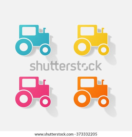 Sticker paper products realistic element design illustration tractor