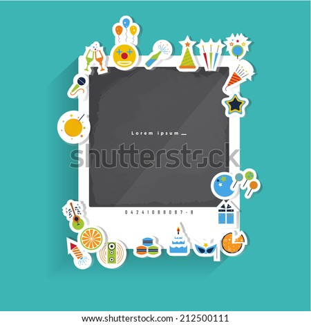Sticker Party flat Icons with long shadow For Web and Mobile.Vector Design - stock vector