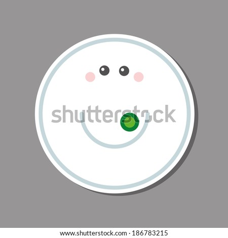 Sticker. Plate, saucer with green peas. Vector illustration. Used as a sticker on the phone and other objects. Cute, smiling. - stock vector