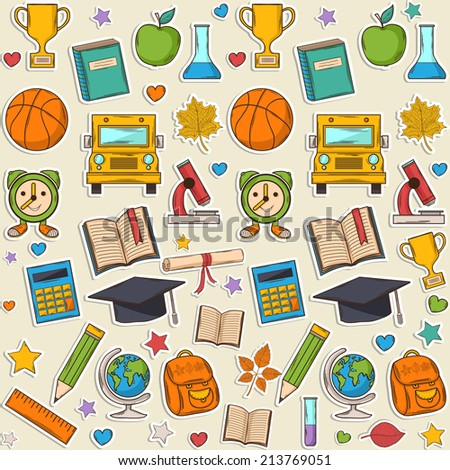 Sticker school pattern, with different elements:hat graduate,scroll, apple,books,flasks, basketball,alarm clock, briefcase, backpack, school bus,globe,ruler,mic roscope