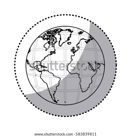 Sticker silhouette earth world map continents stock vector sticker silhouette earth world map with continents in 3d vector illustration gumiabroncs Images