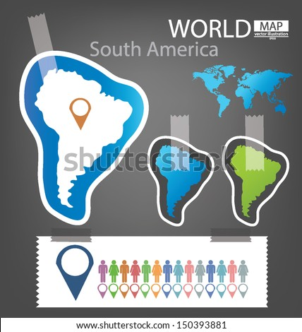 Sticker south america world map vector stock vector 150393881 sticker south america world map vector illustration gumiabroncs Images