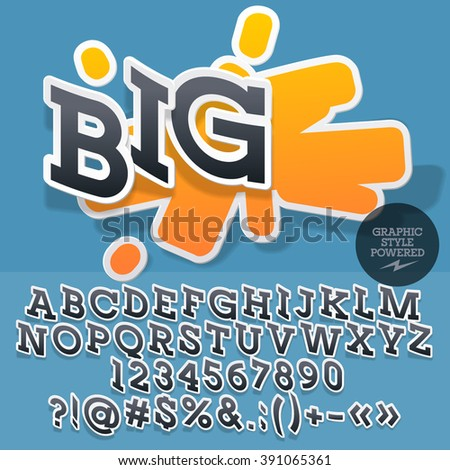 Sticker style emblem for shop, store, market. Vector set of letters and numbers - stock vector