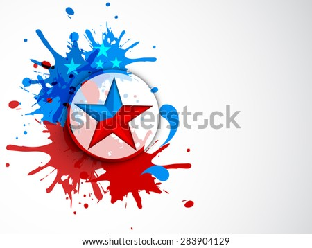 Sticker, tag or label with star on nationl flag color splash for 4th of July, American Independence Day celebration. - stock vector