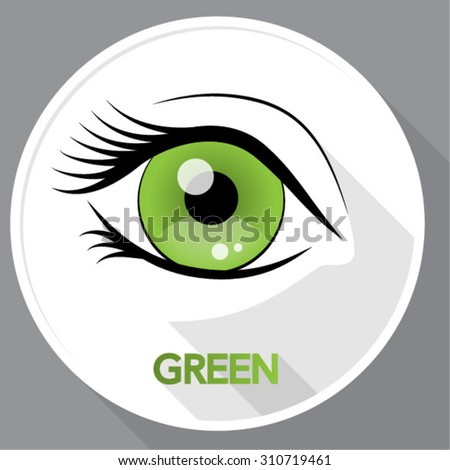 sticker with abstract green eye - stock vector