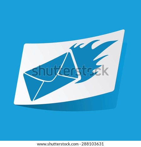 Sticker with burning envelope icon, isolated on blue