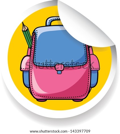 Sticker with cartoon school bag