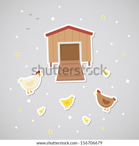Sticker with chickens - stock vector