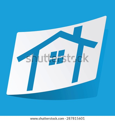 Sticker with cottage icon, isolated on blue
