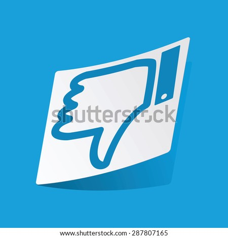Sticker with dislike symbol, isolated on blue - stock vector