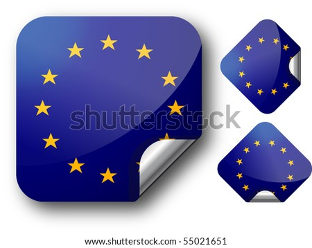 Sticker with EC flag. Vector Illustration. EPS10 - stock vector