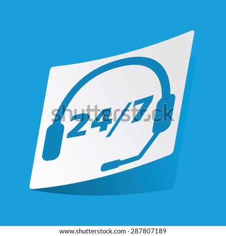 Sticker with headset image and text 24 per 7, isolated on blue - stock vector