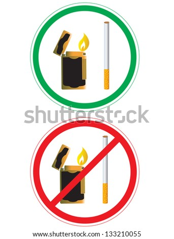 Sticker with no smoking sign in vector format  isolated on white background - stock vector