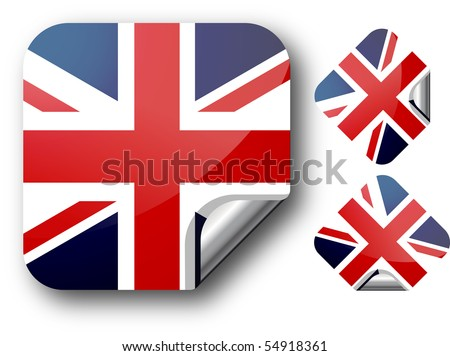 Sticker with UK flag. Vector Illustration. EPS10 - stock vector