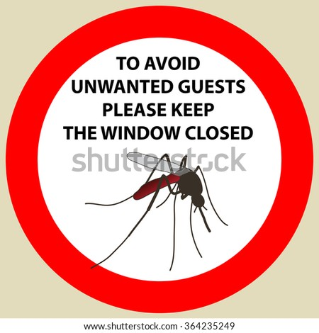 Sticker with Warning sign insect icon mosquito. Mosquito  Vector illustration - stock vector