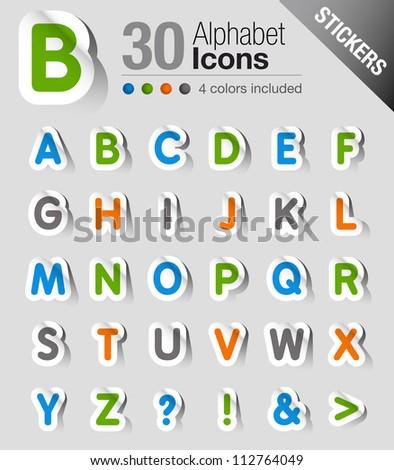 Stickers - Alphabet - stock vector