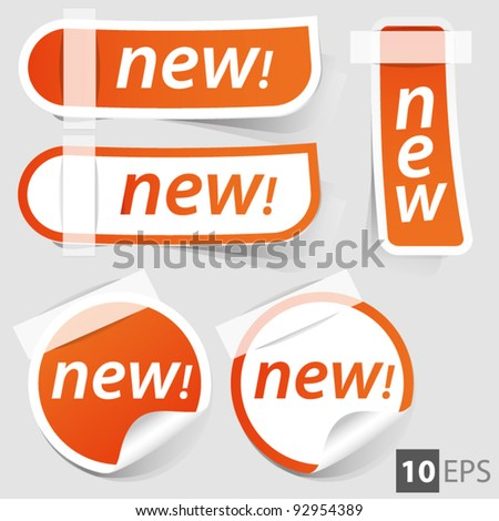 Stickers and banners set . orange tags - stock vector