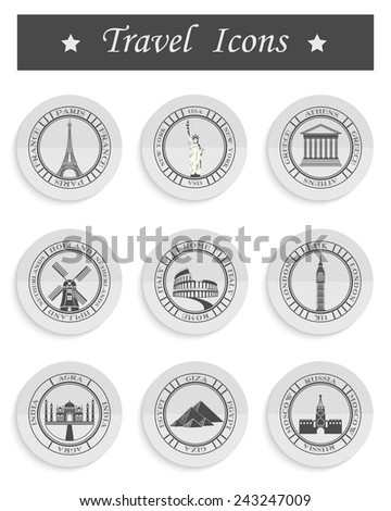 Stickers and icons of travel. Vector illustration isolated famous scenic attractions and places of the world. - stock vector