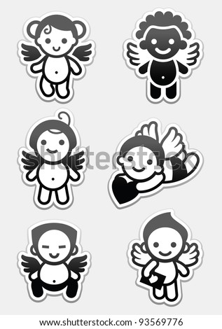Stickers angels. set icons, collection cupids signs - stock vector