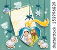 Stickers depicting the characters of the nativity with the piece of paper where you can insert your own text-transparency blending effects and gradient mesh-EPS 10 - stock vector