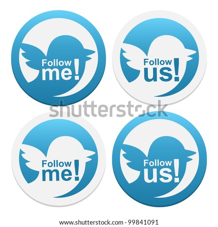 Stickers Follow me and Follow us. Vector illustration. - stock vector