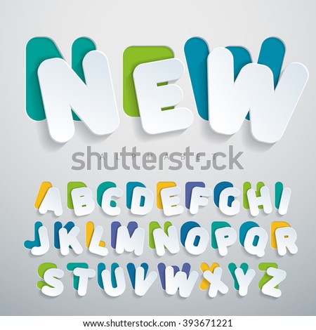Stickers font flat design. Colorful alphabet and Imitating cardboard, paper surfaces. Volumetric letters with thin round-up angles. Suitable for posters, banners, web. Vector illustration - stock vector
