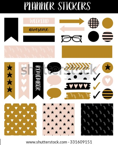 Stickers Organized Your Planner Template Planner Stock Vector