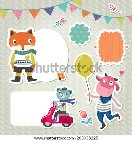 Stickers & gift tags with cute animals & frames  - stock vector