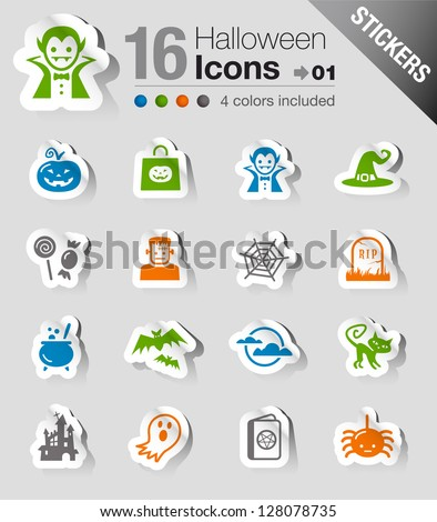 Stickers - Halloween Icons - stock vector