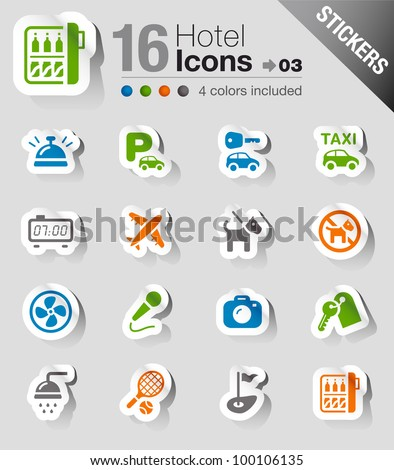 Stickers - Hotel icons - stock vector