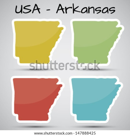 stickers in form of Arkansas state, USA - stock vector
