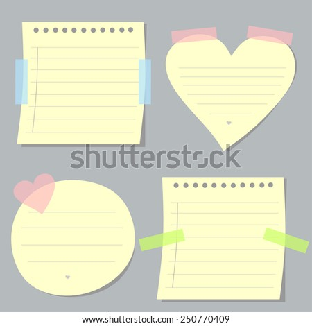 stickers in the shape of heart, a circle and a square. Stickers for records - stock vector