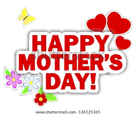 Stickers Mother's Day. Banner with hearts, flowers and butterflies. 10 EPS. Vector illustration.