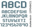 Stickers of alphabet letters and numbers. Vector set - stock vector