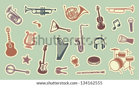 Stickers of musical instruments - stock vector