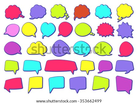 Stickers of speech bubbles color set - stock vector