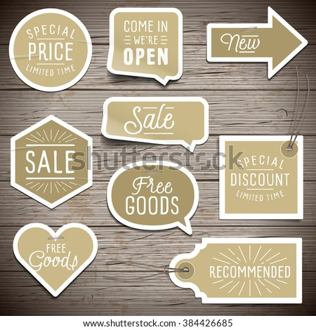 Stickers on rustic wood background for retail. Vector illustration. - stock vector