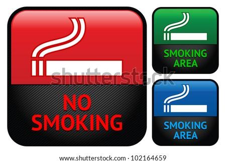 Stickers set - Smoking area labels, vector - stock vector