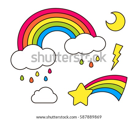 Stickers set with rainbow, star, cloud, moon for girls. Cool decoration elements isolated on white. Colored vector comic cartoon 80s-90s style. Cute set of fashion patch badges, pins