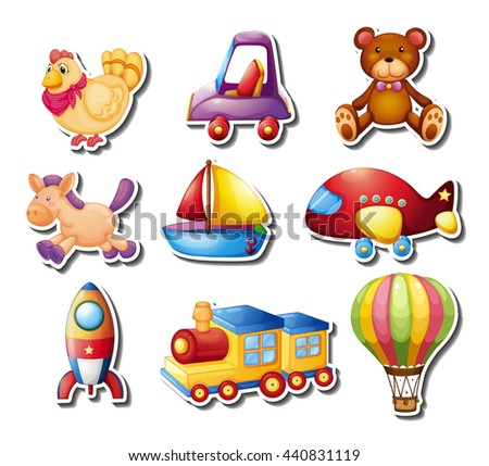 Stickers set with toys illustration