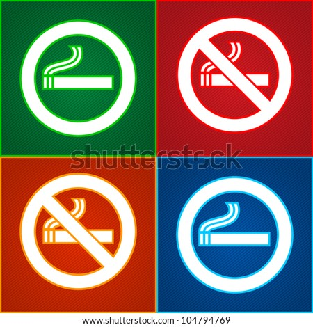 Stickers signs set - Smoking area labels - stock vector