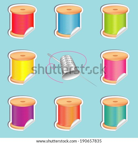 Stickers, silver thimble, needle, 8 spools of thread, strand detail, shaded stickers, summer beach colors for do it yourself sewing, tailoring, quilting, needlework, aqua background. EPS8 compatible. - stock vector