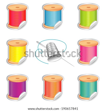 Stickers, silver thimble, needle, 8 spools of thread, strand detail, summer beach colors for do it yourself sewing, tailoring, quilting, needlework, isolated on white background. EPS8 compatible. - stock vector
