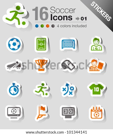 Stickers - Soccer Icons - stock vector