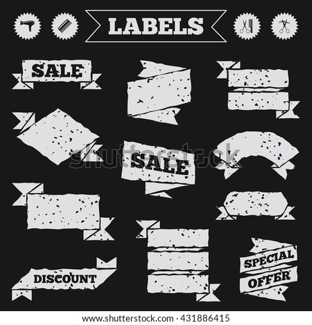 Stickers, tags and banners with grunge. Hairdresser icons. Scissors cut hair symbol. Comb hair with hairdryer sign. Sale or discount labels. Vector - stock vector