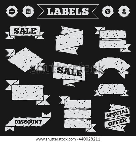 Stickers, tags and banners with grunge. Sale speech bubble icon. Discount star symbol. Big sale shopping bag sign. First month free medal. Sale or discount labels. Vector - stock vector