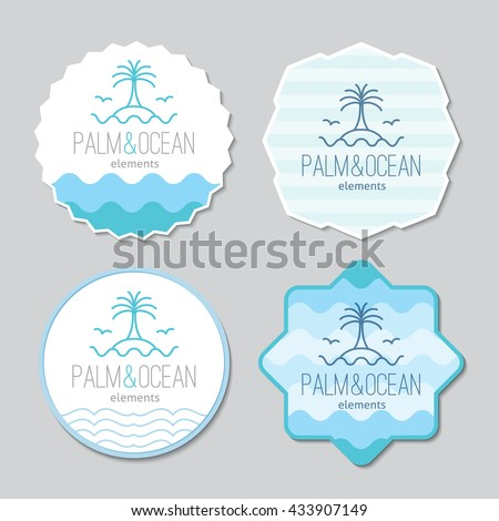 stickers templates set with logo for travel agency. Palm, seagulls, island and waves, single line design - stock vector