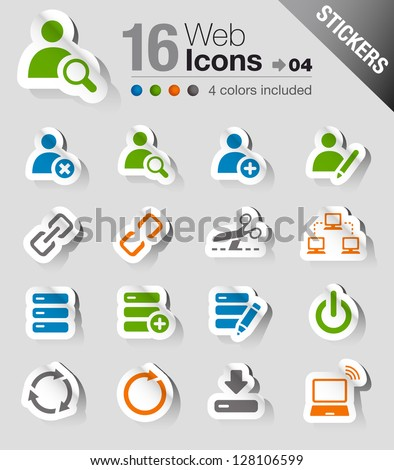 Stickers - Website and Internet Icons - stock vector