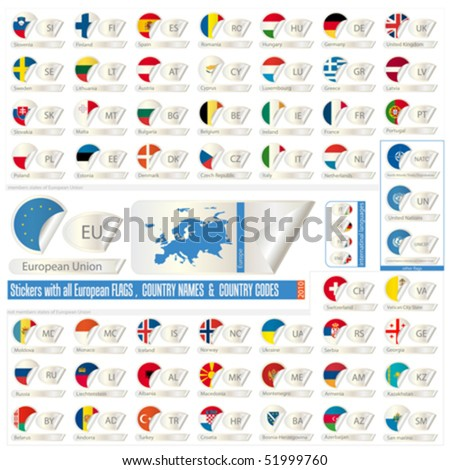 stickers with all european states  flags, names end abbreviations  isolated on white, vector illustration - stock vector