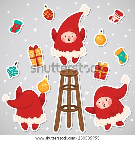 Stickers with Christmas Elves, set, vector. - stock vector
